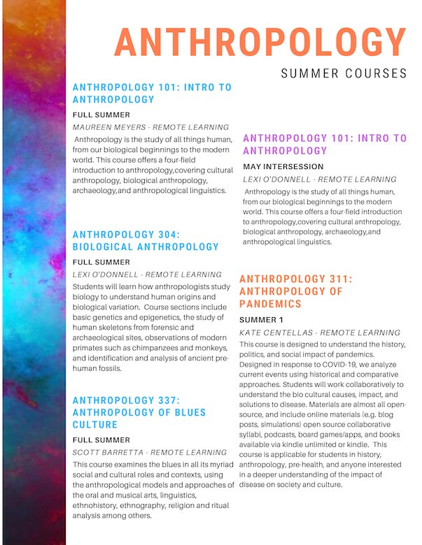anthropology summer courses 2020